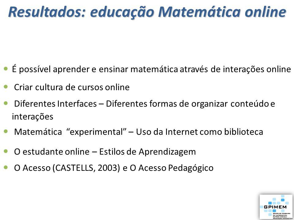 É possível aprender e ensinar matemática através de interações online Criar cultura de cursos online Diferentes Interfaces – Diferentes formas de orga