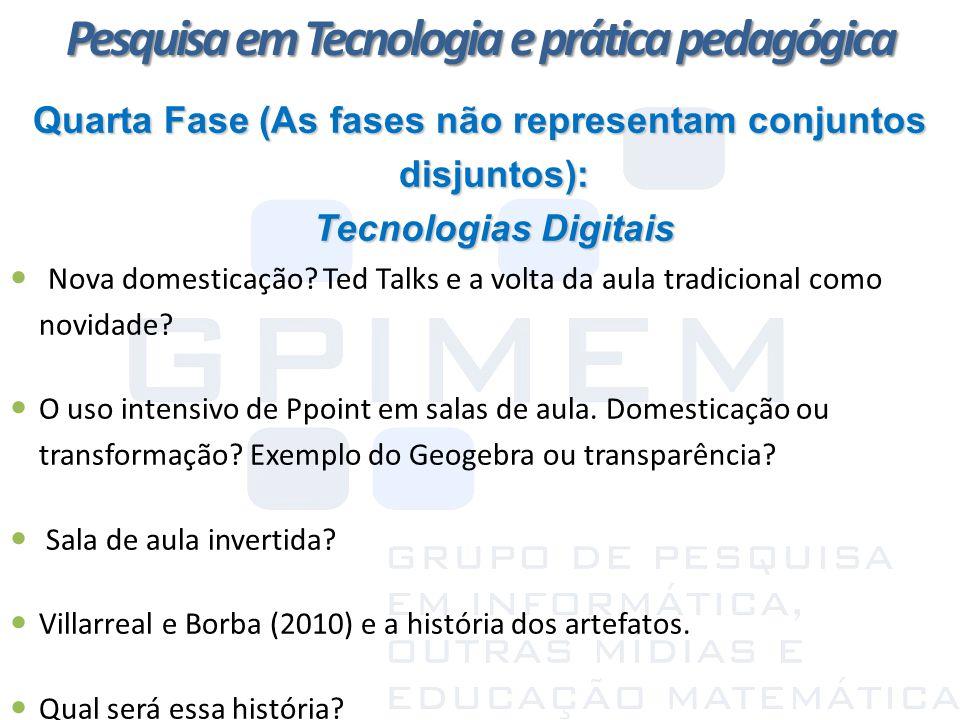 Quarta Fase (As fases não representam conjuntos disjuntos): Tecnologias Digitais Nova domesticação? Ted Talks e a volta da aula tradicional como novid