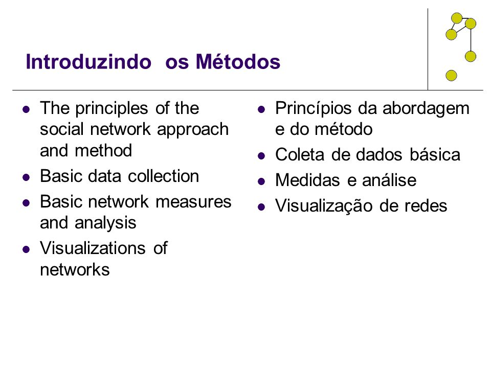 Introduzindo os Métodos The principles of the social network approach and method Basic data collection Basic network measures and analysis Visualizati