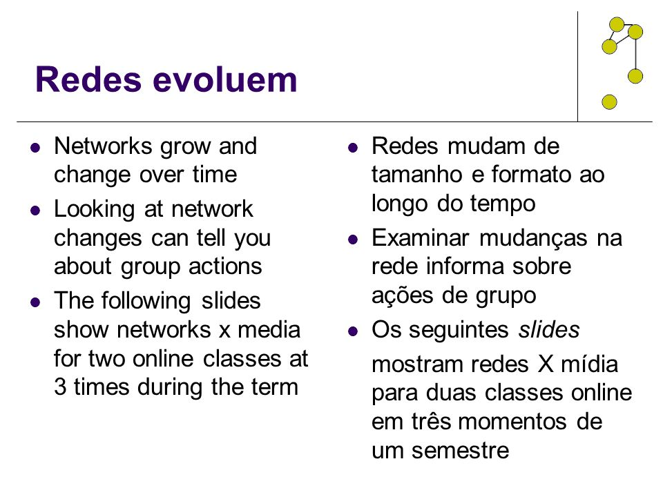 Redes evoluem Networks grow and change over time Looking at network changes can tell you about group actions The following slides show networks x medi