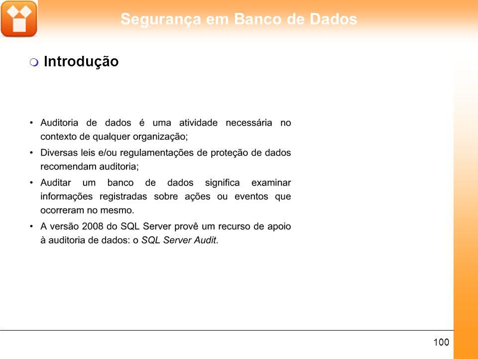 Segurança em Banco de Dados 100 m Introdução
