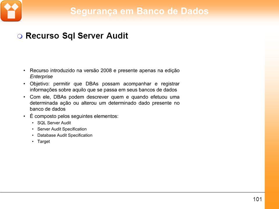 Segurança em Banco de Dados 101 m Recurso Sql Server Audit