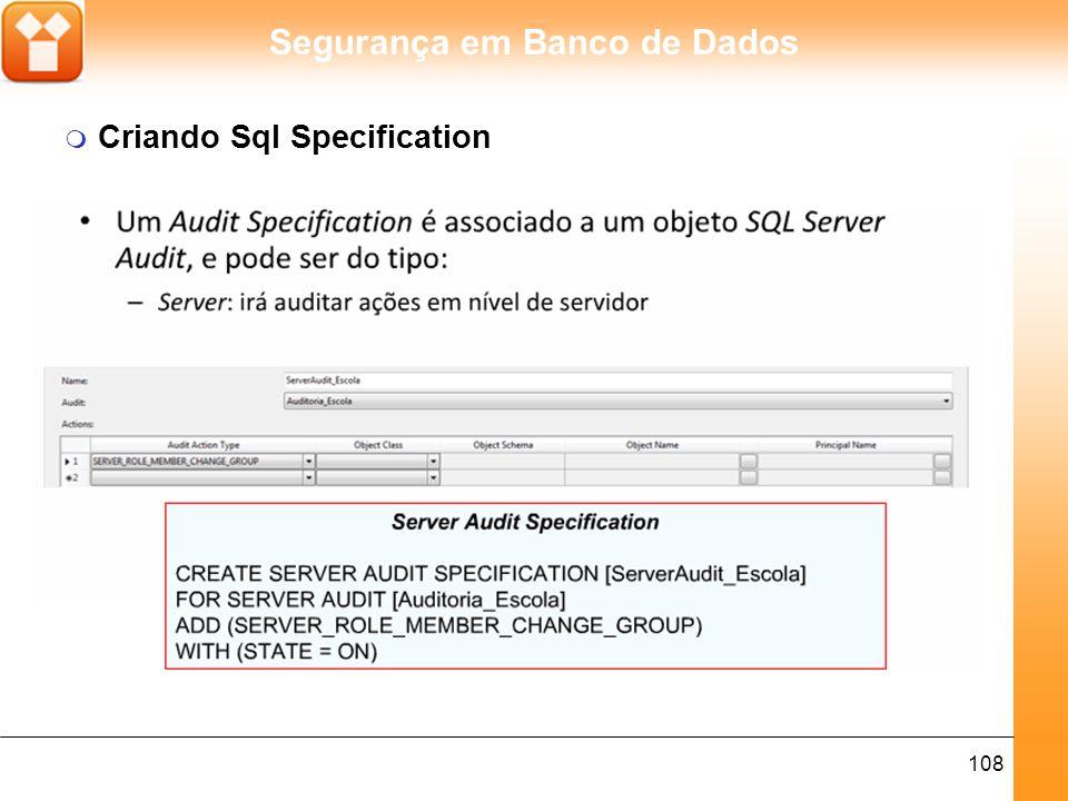 Segurança em Banco de Dados 108 m Criando Sql Specification
