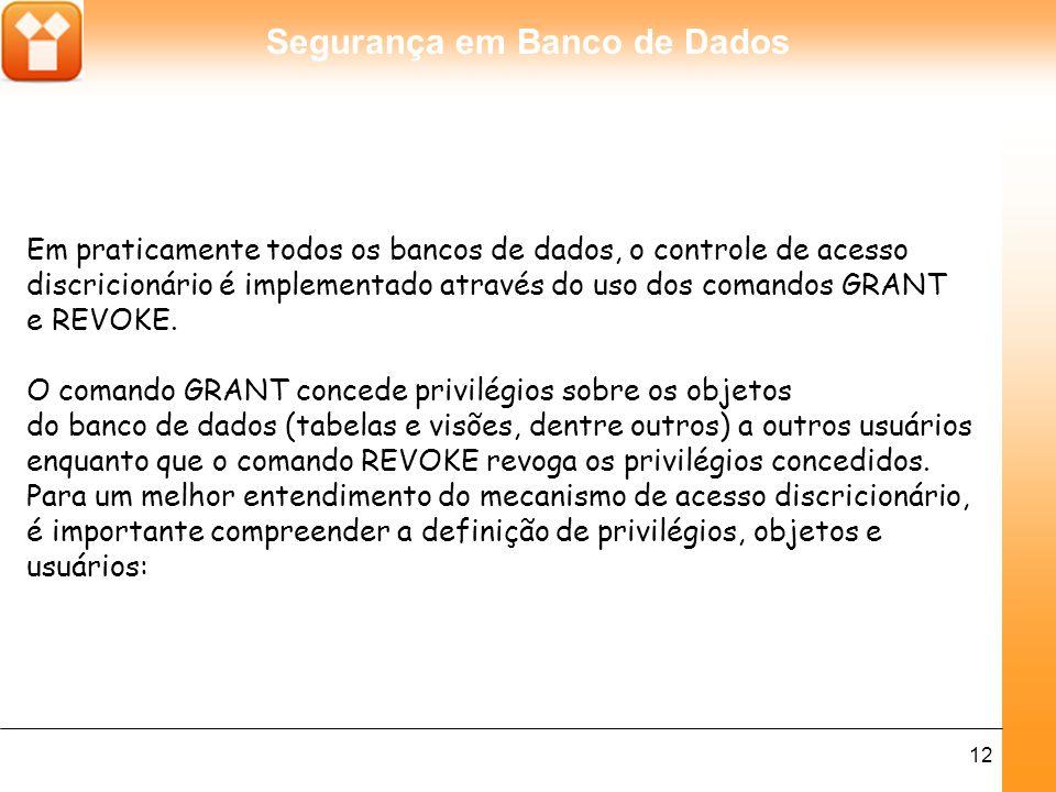 Segurança em Banco de Dados 12 Em praticamente todos os bancos de dados, o controle de acesso discricionário é implementado através do uso dos comandos GRANT e REVOKE.
