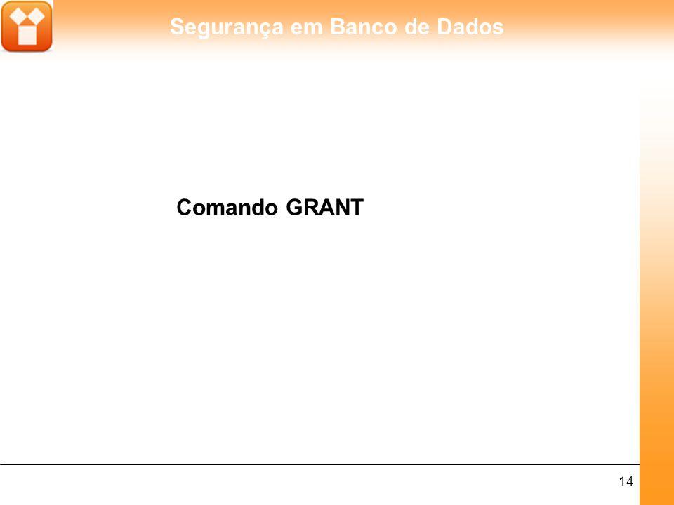 Segurança em Banco de Dados 14 Comando GRANT