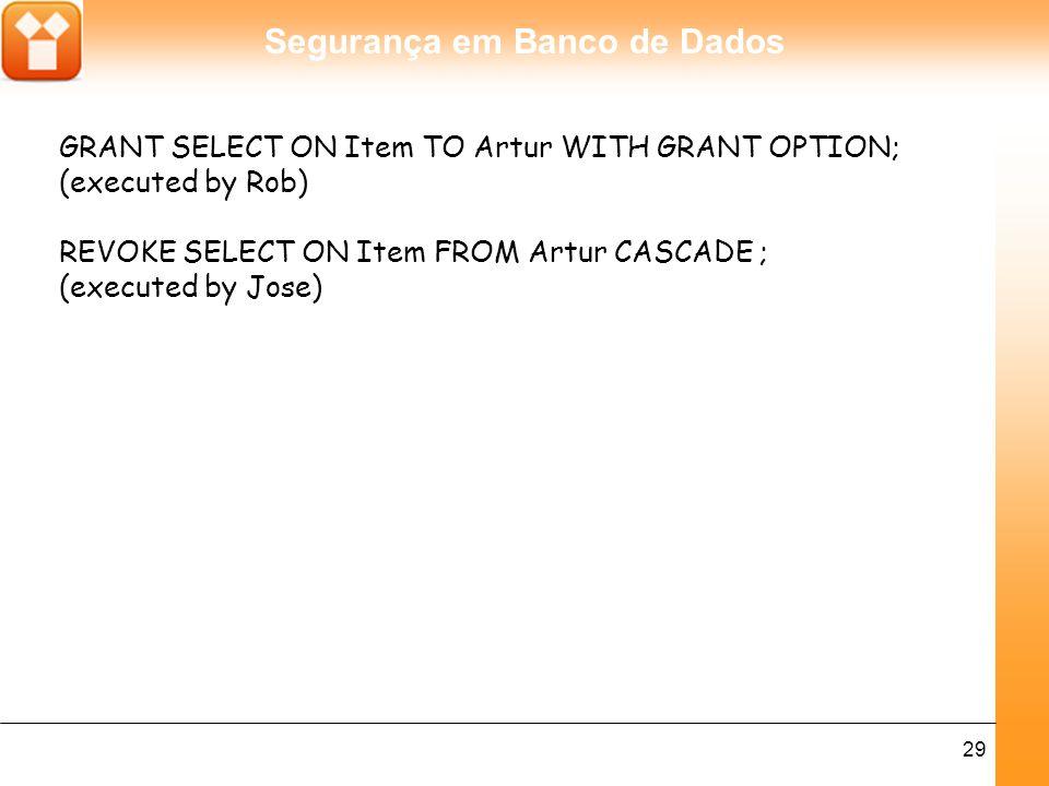 Segurança em Banco de Dados 29 GRANT SELECT ON Item TO Artur WITH GRANT OPTION; (executed by Rob) REVOKE SELECT ON Item FROM Artur CASCADE ; (executed by Jose)
