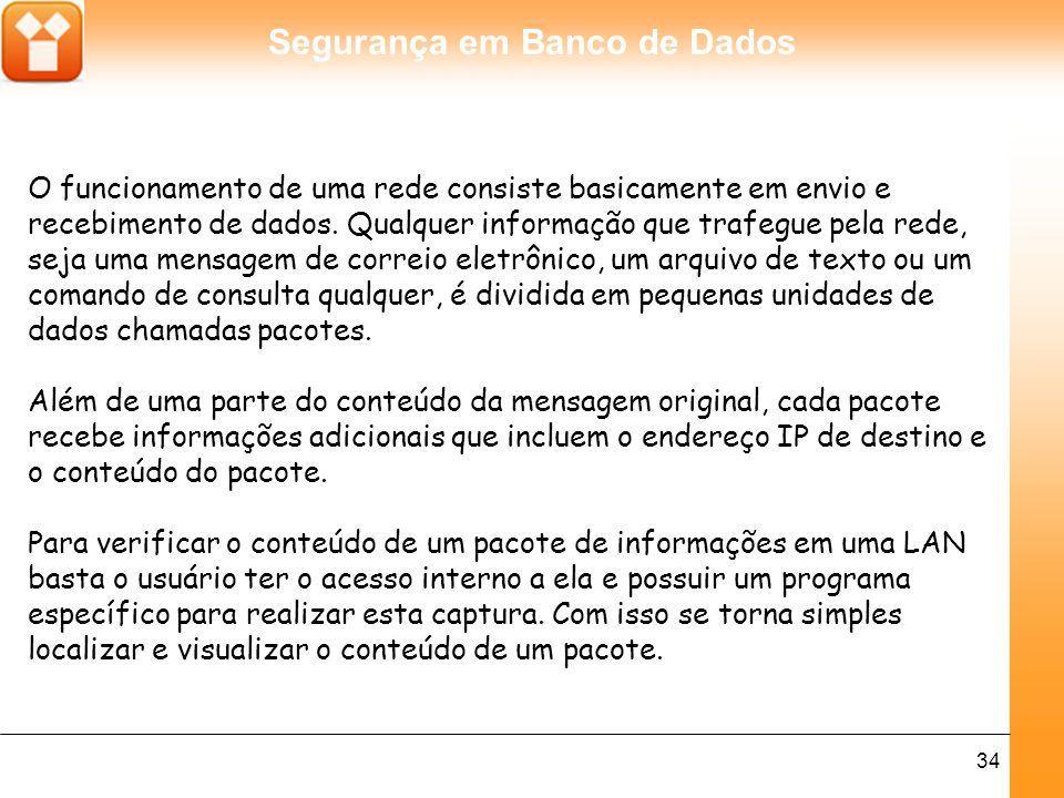 Segurança em Banco de Dados 34 O funcionamento de uma rede consiste basicamente em envio e recebimento de dados.