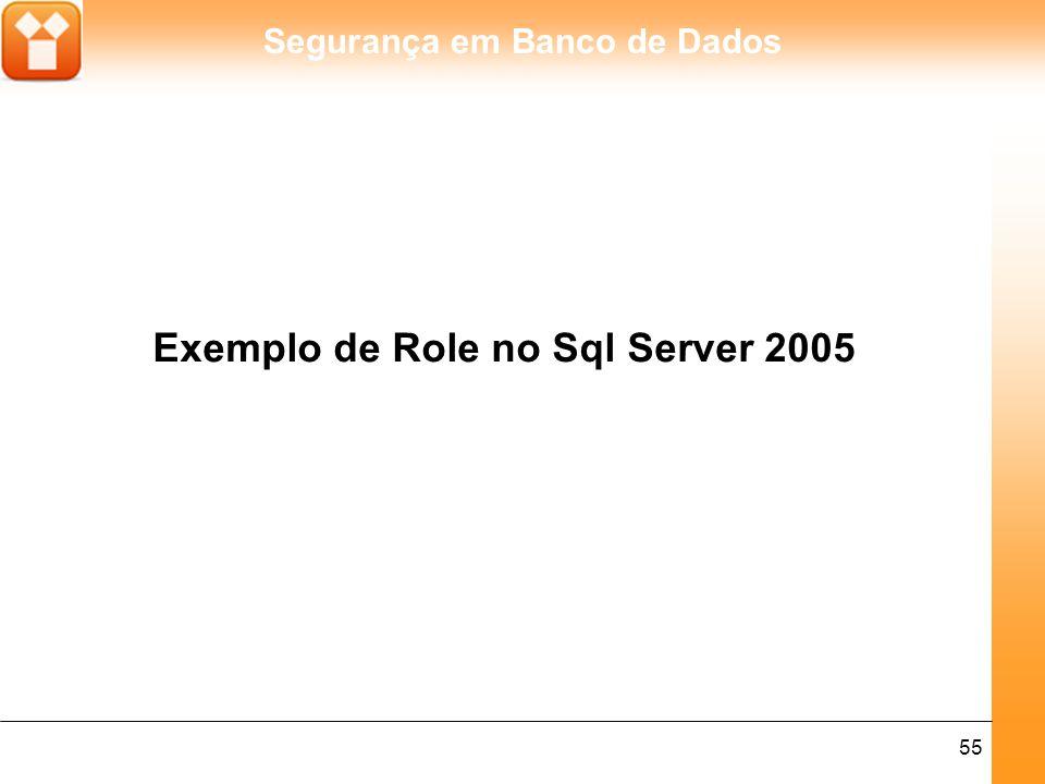 Segurança em Banco de Dados 55 Exemplo de Role no Sql Server 2005