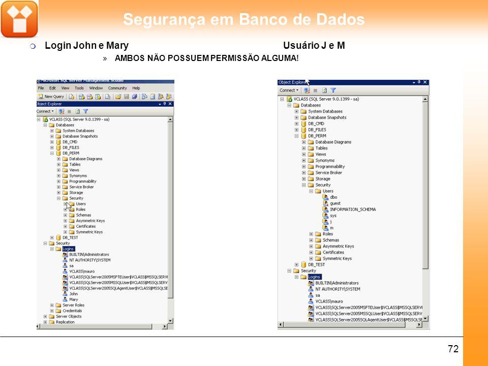 Segurança em Banco de Dados 72 m Login John e Mary Usuário J e M »AMBOS NÃO POSSUEM PERMISSÃO ALGUMA!