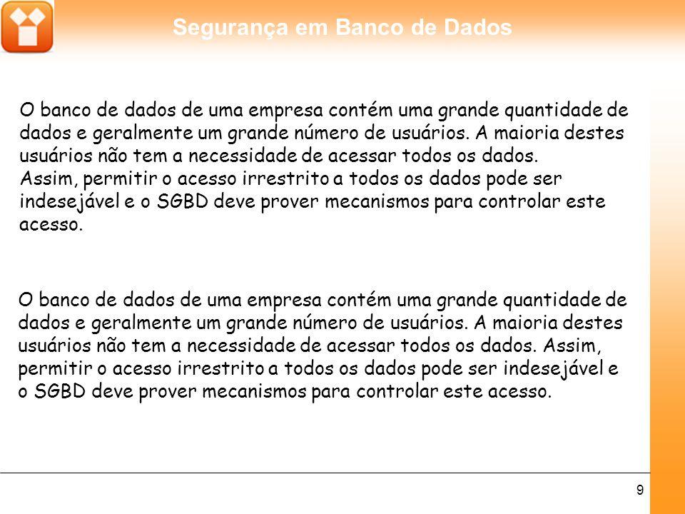 Segurança em Banco de Dados 9 O banco de dados de uma empresa contém uma grande quantidade de dados e geralmente um grande número de usuários.