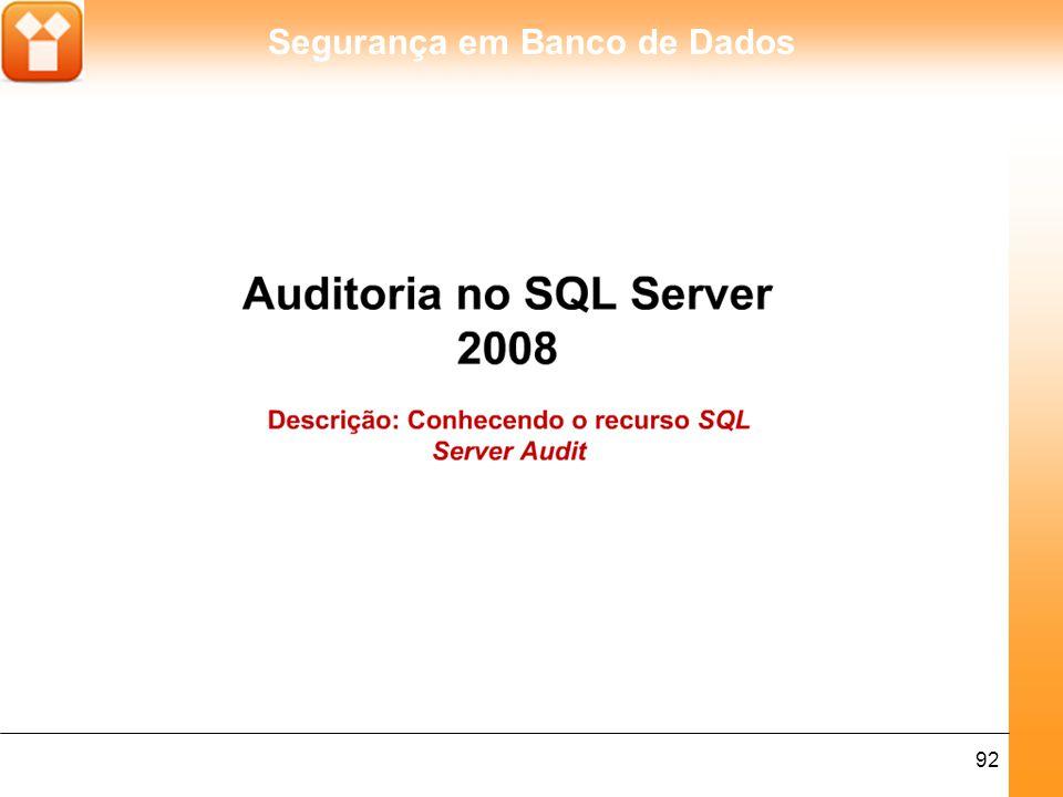 Segurança em Banco de Dados 92