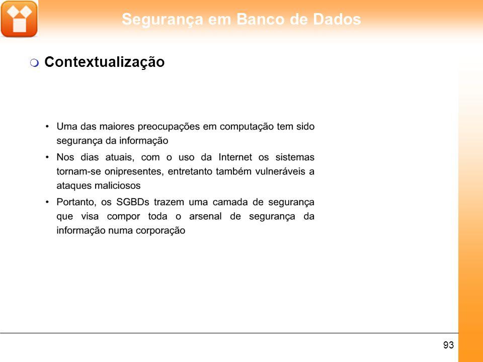 Segurança em Banco de Dados 93 m Contextualização