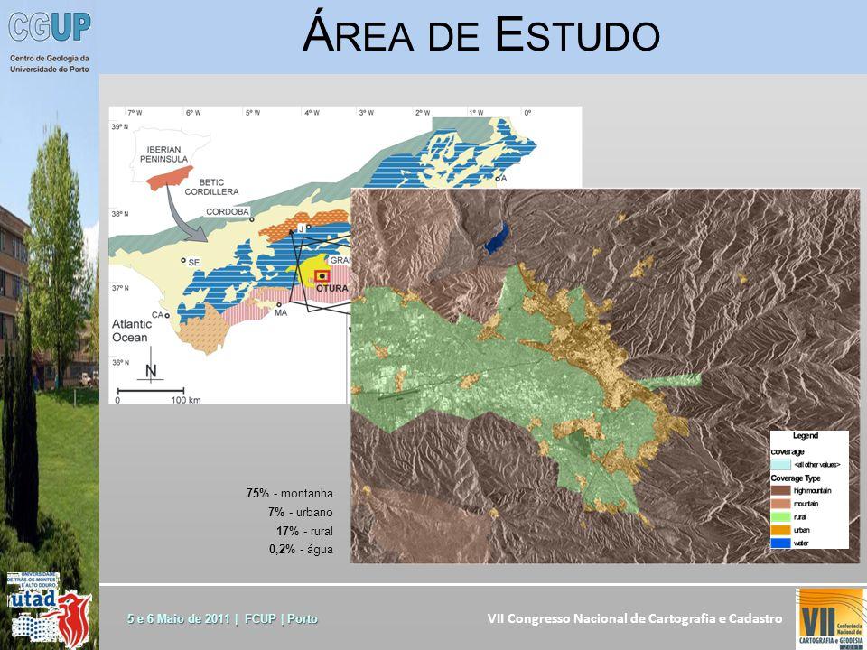 VII Congresso Nacional de Cartografia e Cadastro 5 e 6 Maio de 2011 | FCUP | Porto Á REA DE E STUDO 75% - montanha 7% - urbano 17% - rural 0,2% - água