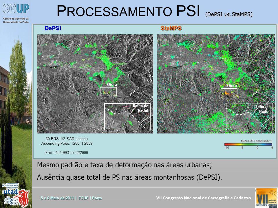 VII Congresso Nacional de Cartografia e Cadastro 5 e 6 Maio de 2011 | FCUP | Porto Mesmo padrão e taxa de deformação nas áreas urbanas; Ausência quase total de PS nas áreas montanhosas (DePSI).