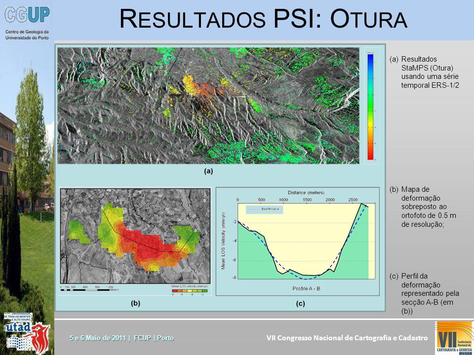 VII Congresso Nacional de Cartografia e Cadastro 5 e 6 Maio de 2011 | FCUP | Porto (a)Resultados StaMPS (Otura) usando uma série temporal ERS-1/2 (b)Mapa de deformação sobreposto ao ortofoto de 0.5 m de resolução; (c)Perfil da deformação representado pela secção A-B (em (b)) R ESULTADOS PSI: O TURA