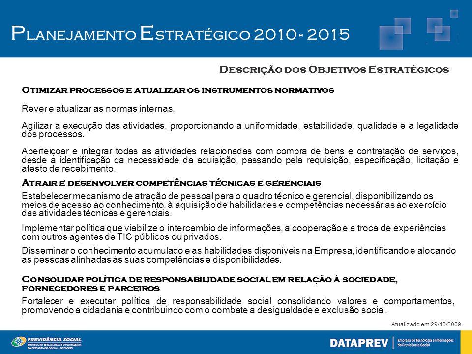 Atualizado em 29/10/2009 P lanejamento E stratégico 2010 - 2015 Descrição dos Objetivos Estratégicos Otimizar processos e atualizar os instrumentos no