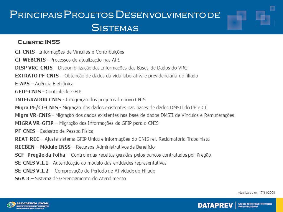 Cliente: INSS P rincipais P rojetos D esenvolvimento de S istemas Atualizado em 17/11/2009 CI-CNIS - Informações de Vínculos e Contribuições CI-WEBCNI