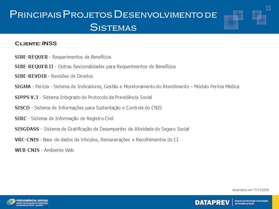 P rincipais P rojetos D esenvolvimento de S istemas Cliente: INSS Atualizado em 17/11/2009 SIBE-REQUER - Requerimentos de Benefícios SIBE-REQUER II -