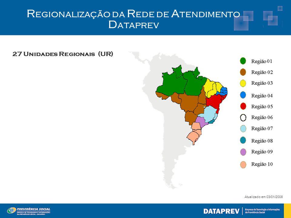 27 Unidades Regionais (UR)  R egionalização da R ede de A tendimento D ataprev Atualizado em 03/01/2008