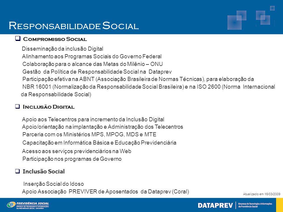  Compromisso Social Disseminação da inclusão Digital Alinhamento aos Programas Sociais do Governo Federal Colaboração para o alcance das Metas do Mil