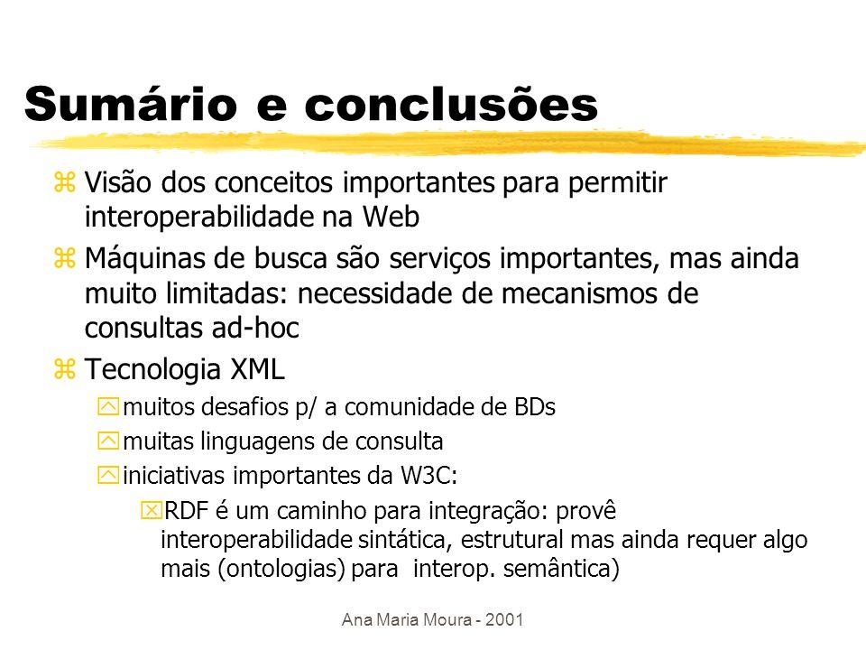 Ana Maria Moura - 2001 Processamento de consultas zOtimização complexa ynenhuma informação sobre cardinalidade, distribuição, índices ypadrão de acesso limitado zInformação redundante nas fontes zDisponibilidade dos dados é imprevisível zTaxa de carga dos dados muito variável