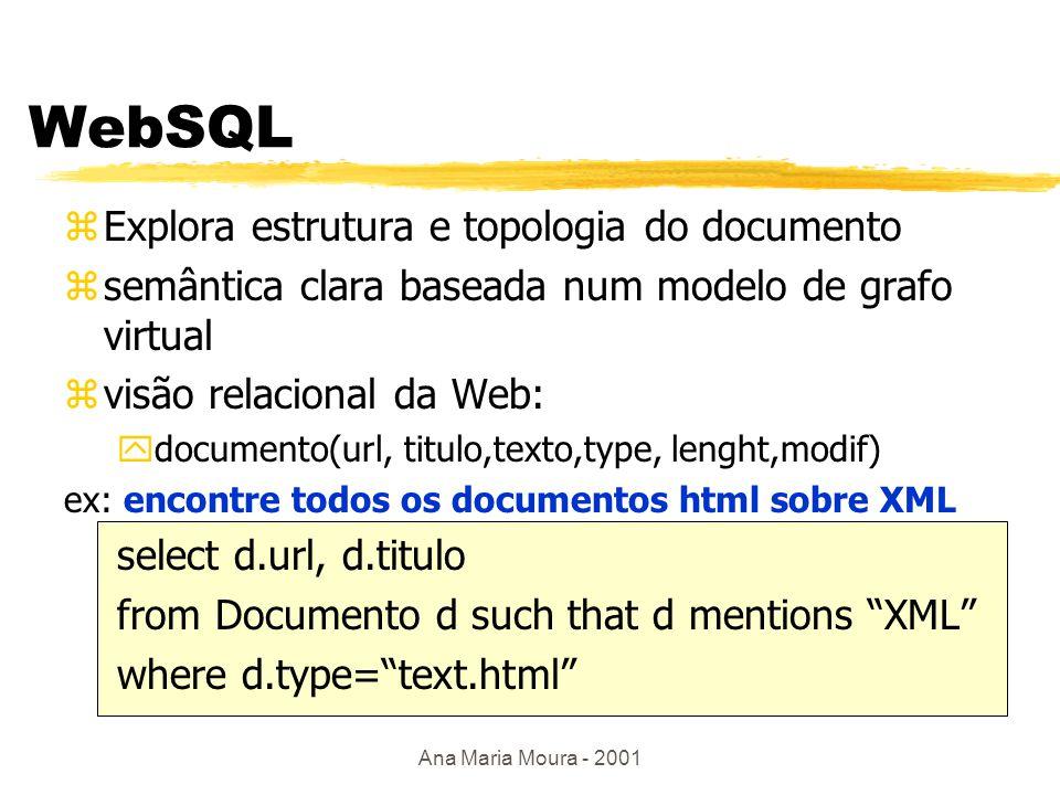 Ana Maria Moura - 2001 Linguagens Web zUsam topologia da Web em consultas p/ controlar navegação e obter melhores respostas: navegação e pesquisa yWebSQL, W3QL zConsultam conteúdo do documento a partir da estrutura e constrói novos documentos yWebLog
