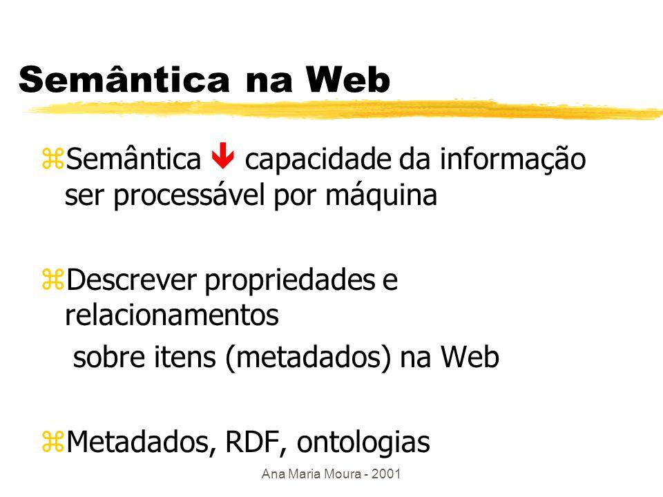 Ana Maria Moura - 2001 Outras linguagens zW3QL yparecida com WebSQL: foco em interoperabilidade - uso com outras ferramentas zWebLog ydocumento baseado em estrutura html ylinguagem baseada em lógica p/ consulta e reestruturação da informação EX: obtenha todos os links p/ documentos html e os títulos correspondentes ans.html[title  'all citations', hlink ->>L, occurs ->>T]:- dblp_pages[hlink ->>L],href(L,U), U[title ->>T].