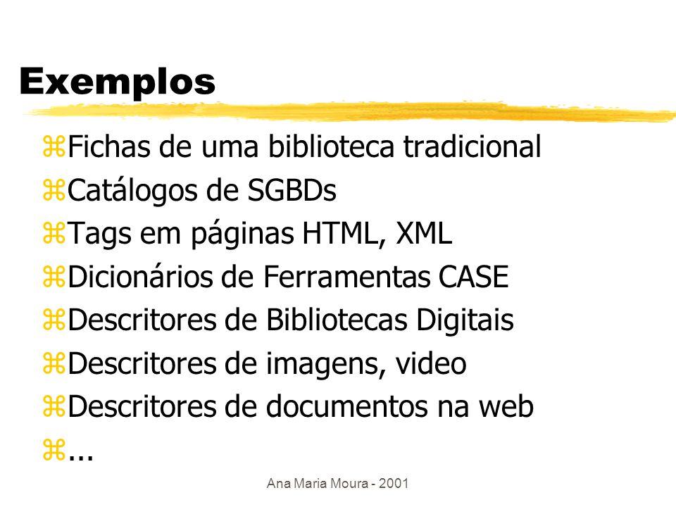 Ana Maria Moura - 2001 Metadado zMeta: ysignifica algo que descreve... xe.g.