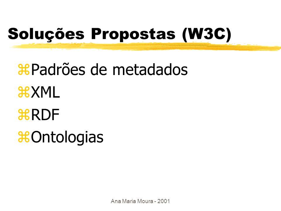 Ana Maria Moura - 2001 Metadados na Web hoje zMetadados embutidos no recurso: Declaração da linguagem HTML: <META NAME= autor CONTENT= Cassia Barreto Tags embutidos no XML: Do Fortran à Internet zMetadados como anexo ao recurso: Cabeçalho do Protocolo HTTP: emitidos pelo servidor ao cliente Expires: Mon, 13 may 1998 09:13:25 GMT zMetadados mantidos separados do recurso: Plataforma PICS (Plataform for Internet: Content Selection) rótulos para avaliação de conteúdo