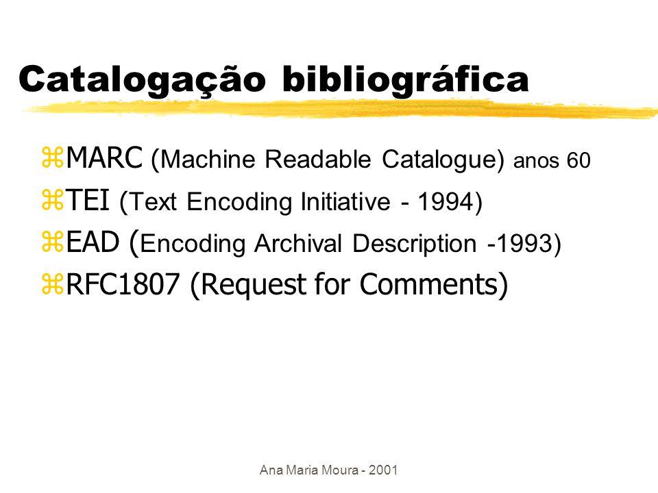 Ana Maria Moura - 2001 Padrões de Metadados Objetivos: yConj.