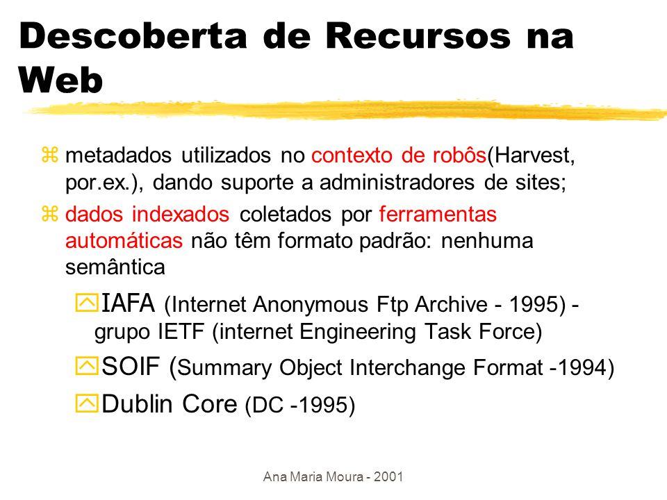 Ana Maria Moura - 2001 Infraestrutura global da informação  GILS ( Government Information Locator Service 1996) ybusca de informação em agências governamentais