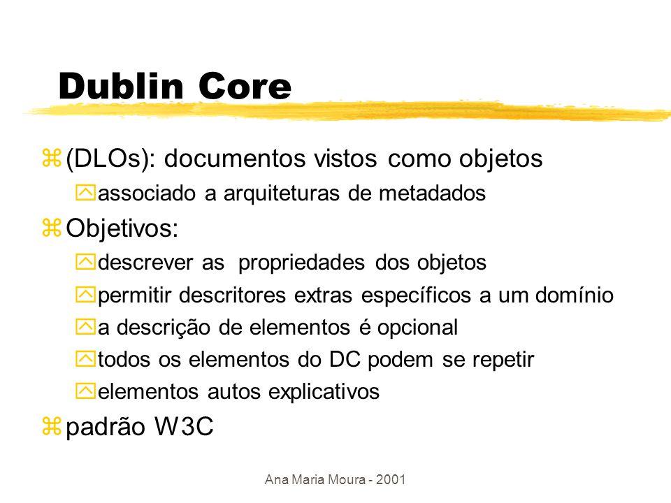 Ana Maria Moura - 2001 Descoberta de Recursos na Web zmetadados utilizados no contexto de robôs(Harvest, por.ex.), dando suporte a administradores de sites; zdados indexados coletados por ferramentas automáticas não têm formato padrão: nenhuma semântica  IAFA (Internet Anonymous Ftp Archive - 1995) - grupo IETF (internet Engineering Task Force) ySOIF ( Summary Object Interchange Format -1994) yDublin Core (DC -1995)