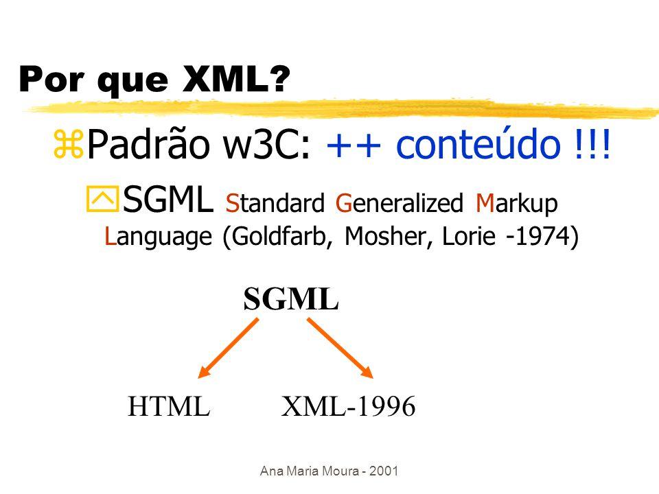 Ana Maria Moura - 2001 Tecnologias de suporte à interoperabilidade zPadrão W3C: y padrões de metadados: DC y XML y arquitetura RDF