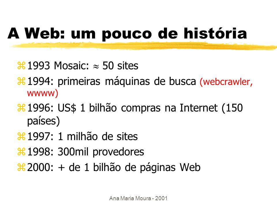 Ana Maria Moura - 2001 A Web: como tudo começou z1990 - CERN zIdéia: tornar o conhecimento accessível a todos e de forma amigável zWWW Consortium (W3C) - 1994 - Berners-Lee yobjetivos: xdar suporte à evolução da tecnologia da informação: infraestrutura - redes, gráfico, interface xencorajar cooperação na indústria: desenvolvimento de interfaces e plataformas padrões