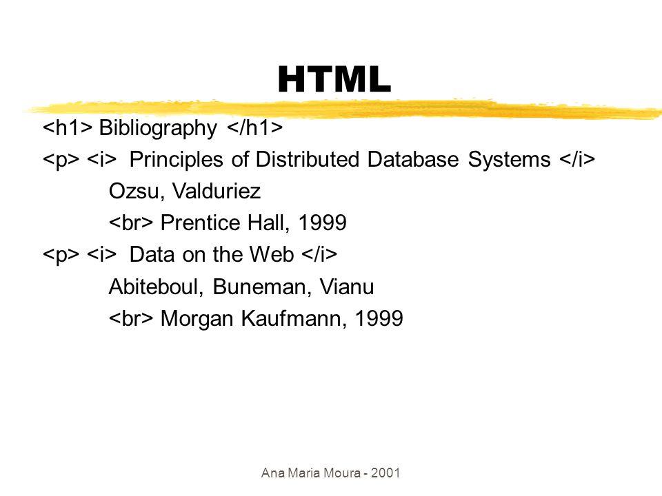 Ana Maria Moura - 2001 HTML: sérias limitações zEm relação ao acoplamento com BDs ygeralmente soluções proprietárias ynenhum protocolo p/ publicação de dados xSQL: não adequada p/ Web ynão possui formato de intercâmbio: HTML é apenas um formato de apresentação.