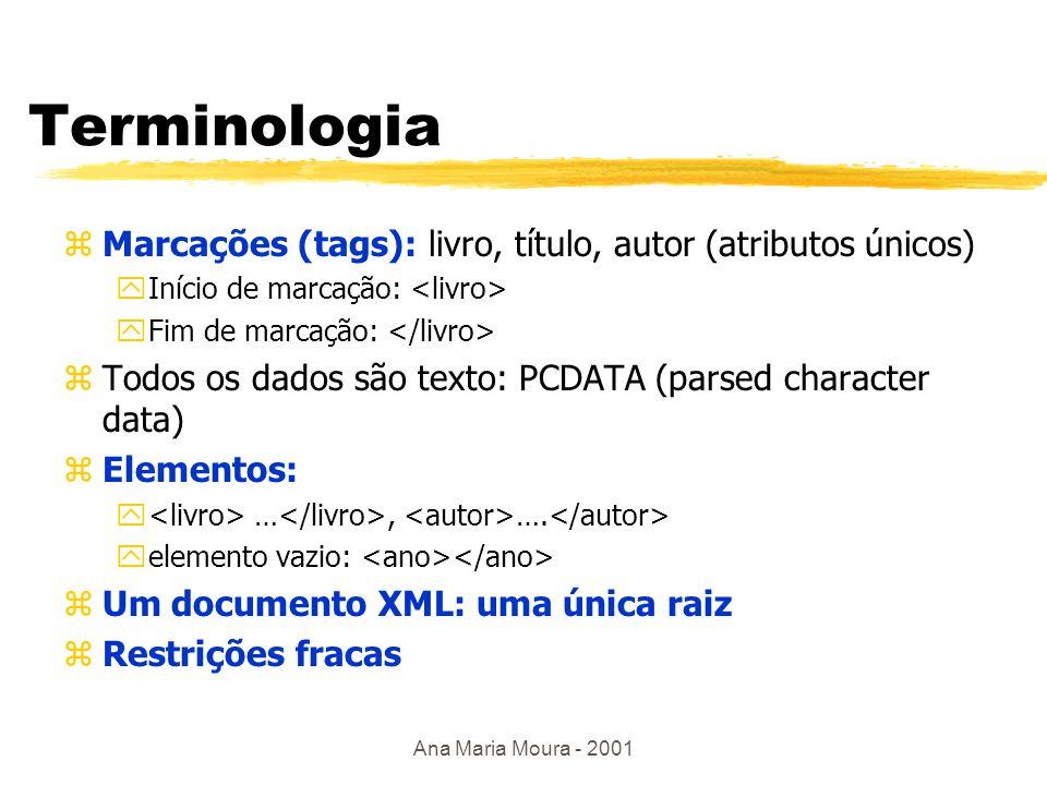 Ana Maria Moura - 2001 XML zSintaxe: yelementos, atributos, entidades, documentos válidos zÉ um modelo de dados semi-estruturados zDefinição de tipos de documentos ytipos de dados, esquemas DTD, namespaces zXML- Schema ymetadados com RDF