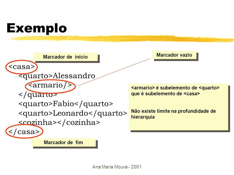 Ana Maria Moura - 2001 Terminologia zMarcações (tags): livro, título, autor (atributos únicos) yInício de marcação: yFim de marcação: zTodos os dados são texto: PCDATA (parsed character data) zElementos: y …, ….