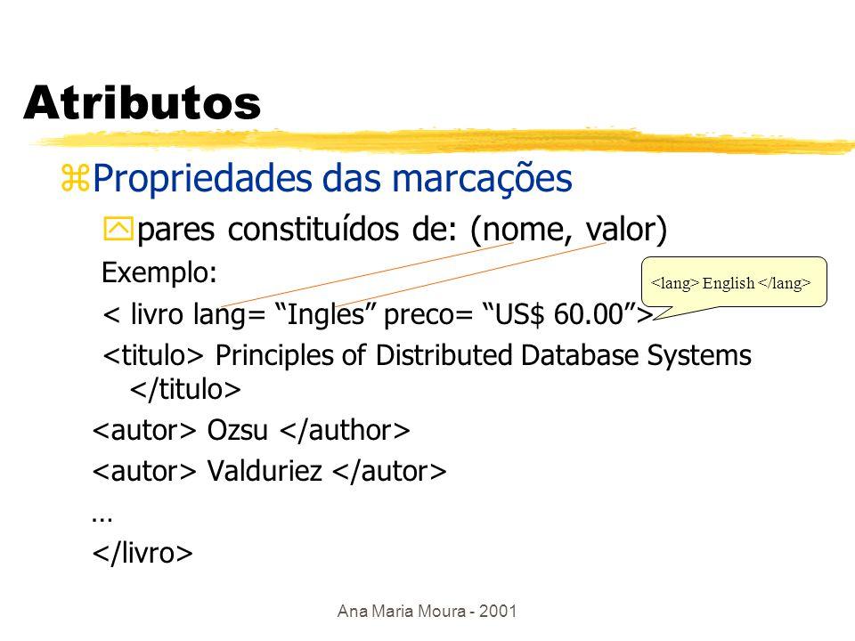 Ana Maria Moura - 2001 Exemplo Alessandro Fabio Leonardo Marcador de início Marcador de fim é subelemento de que é subelemento de Não existe limite na profundidade de hierarquia é subelemento de que é subelemento de Não existe limite na profundidade de hierarquia Marcador vazio