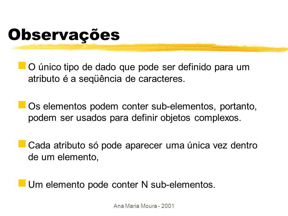 Ana Maria Moura - 2001 Outro exemplo Atributos - [nome, valor].