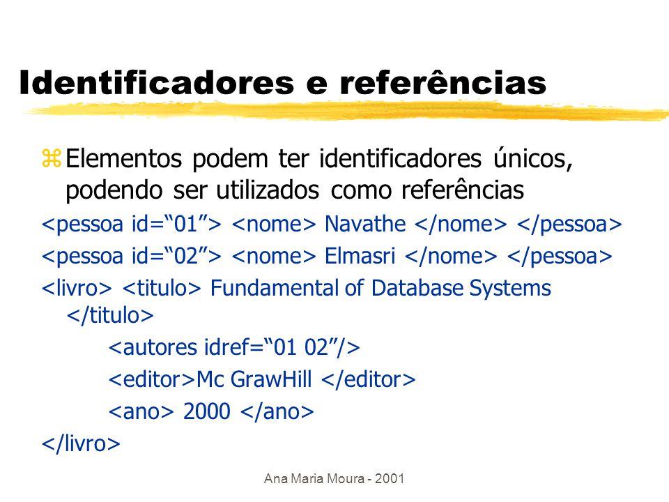 Ana Maria Moura - 2001 Exemplos zAbreviação zdeclaração externa zreferência XML(&XML) representa um padrão para intercâmbio de dados na Web.