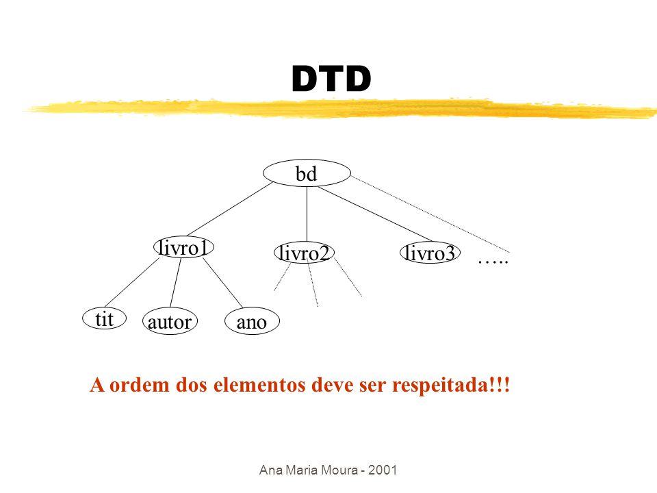 Ana Maria Moura - 2001 Um DTD define a estrutura do conteúdo 1 0..