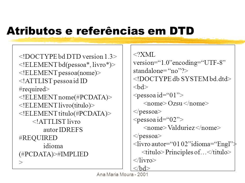 Ana Maria Moura - 2001 DTD p/ um esquema relacional zTab1(m,n), Tab2(p) <!DOCTYPE bd [ ]> Ordem das colunas irrelevante !