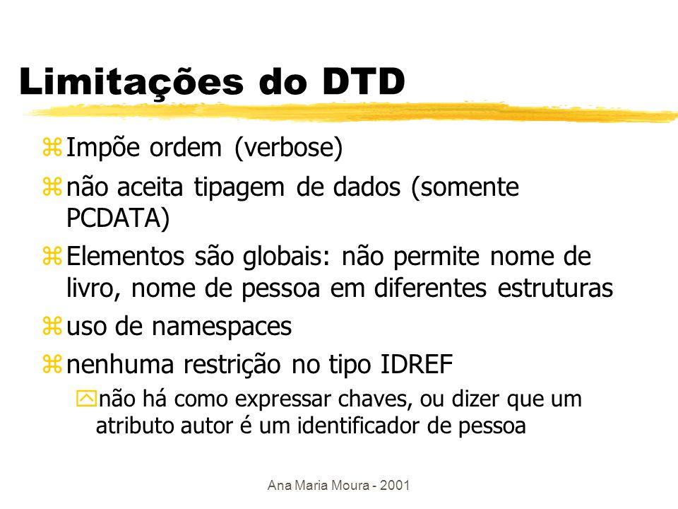 Ana Maria Moura - 2001 Atributos e referências em DTD <!ATTLIST livro autor IDREFS #REQUIRED idioma (#PCDATA)>#IMPLIED > Ozsu Valduriez Principles of…