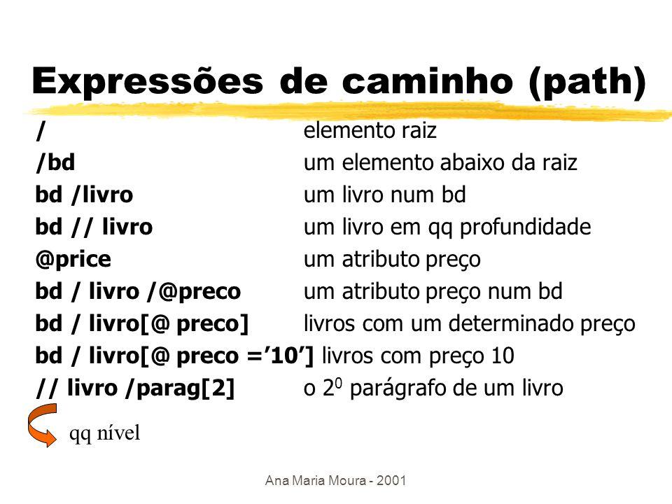 Ana Maria Moura - 2001 Linguagens de Consulta zAs linguagens de consulta XML baseiam-se em caminhos de expressão yXpath yXlink yXpointer