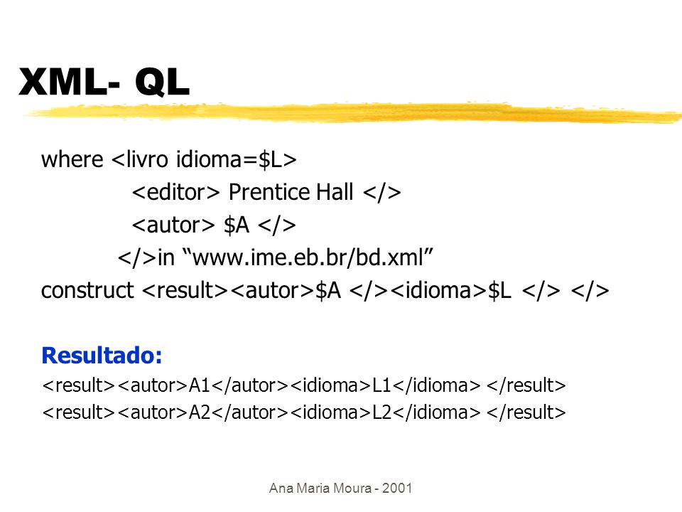 Ana Maria Moura - 2001 Inspirados no SQL: XML- QL zProjeto Strudel (At&T) ybaseada em expressões regulares ycláusula where (seleção) ytemplates p/ construir dados Exemplo: where Mc Graw Hill $A in www.abc.com/bd.xml construct $A Resposta: conjunto de autores A1 A2