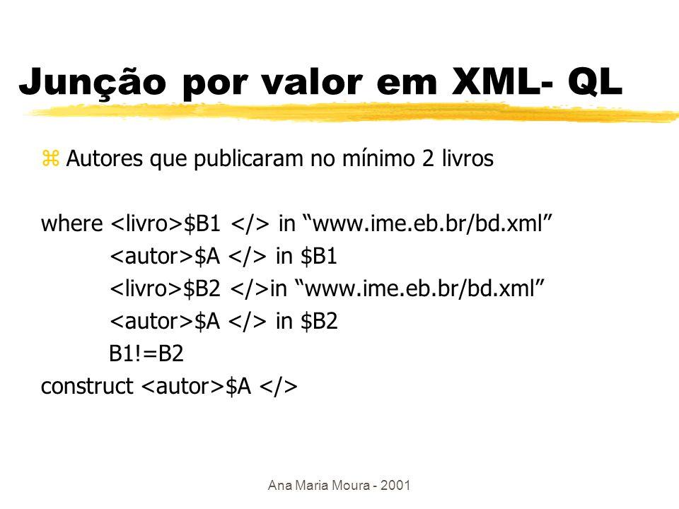 Ana Maria Moura - 2001 XML- QL where Prentice Hall $A in www.ime.eb.br/bd.xml construct $A $L Resultado: A1 L1 A2 L2