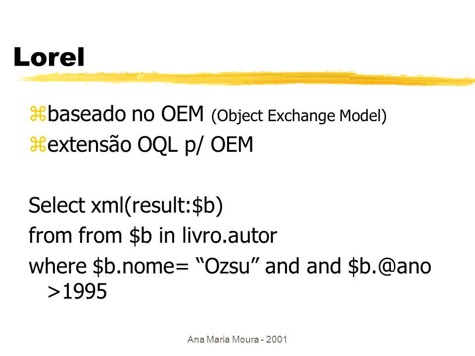 Ana Maria Moura - 2001 Junção por valor em XML- QL zAutores que publicaram no mínimo 2 livros where $B1 in www.ime.eb.br/bd.xml $A in $B1 $B2 in www.ime.eb.br/bd.xml $A in $B2 B1!=B2 construct $A