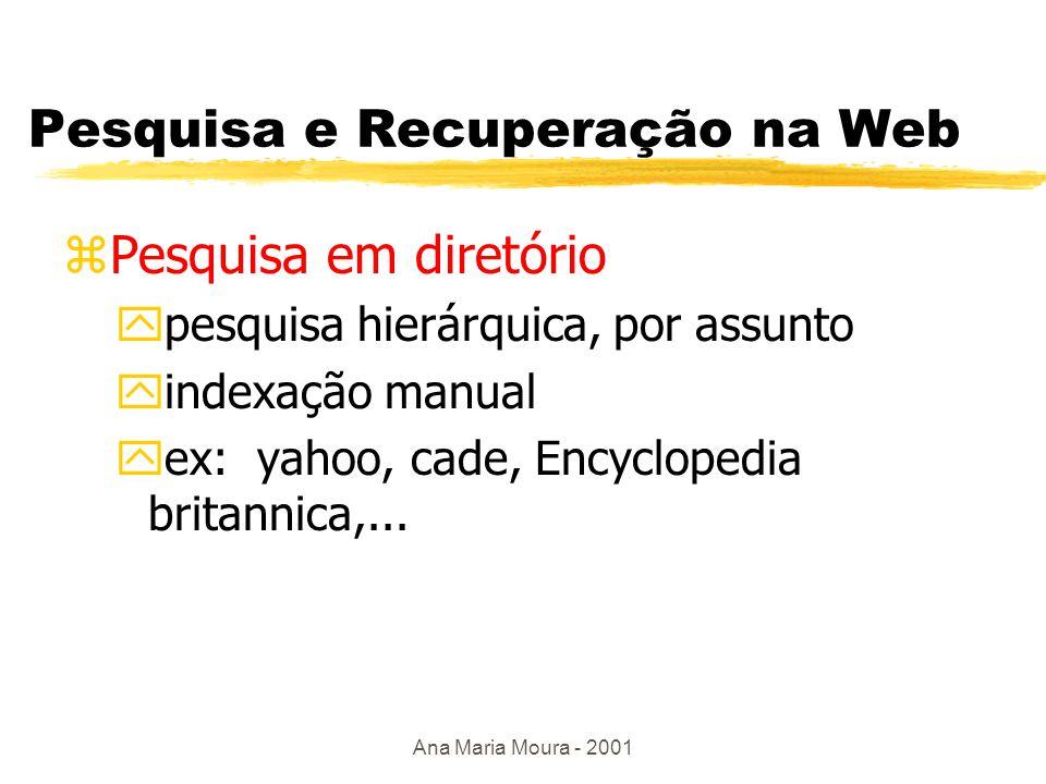 Ana Maria Moura - 2001 Problemas na Web uAumento exponencial do número de documentos eletrônicos publicados na Web; uProblema de precisão das atuais ferramentas de pesquisa de informações na Web, que retornam um número grande de documentos não relevantes; uProblemas p/ identificar, descrever e localizar de forma mais eficiente os recursos na Web; uFerramentas mais eficientes de ajuda à navegação uComo integrar recursos na Web
