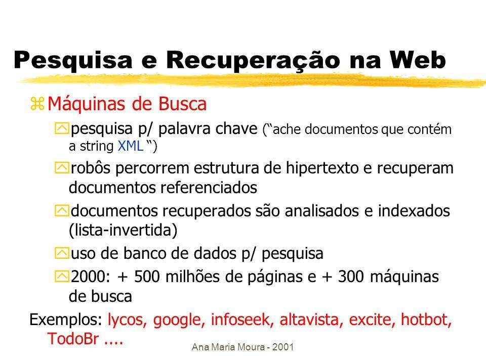 Ana Maria Moura - 2001 Pesquisa e Recuperação na Web zPesquisa em diretório ypesquisa hierárquica, por assunto yindexação manual yex: yahoo, cade, Encyclopedia britannica,...