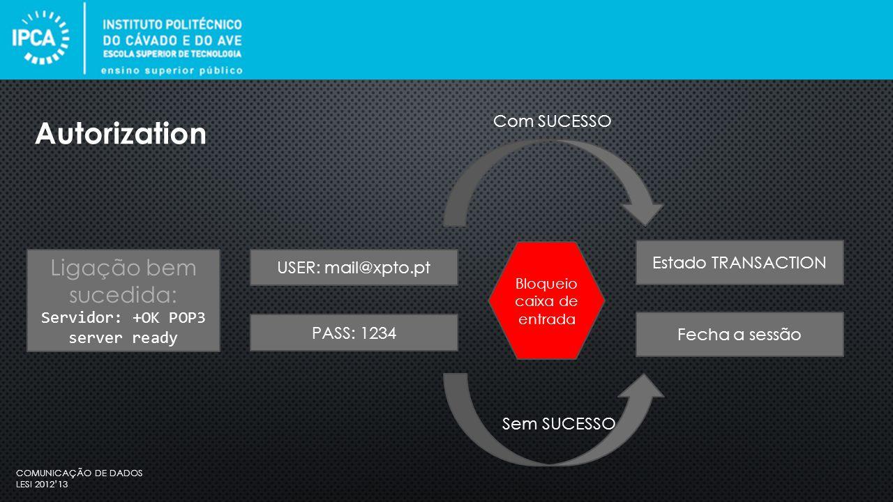 COMUNICAÇÃO DE DADOS LESI 2012'13 O cliente pode efetuar comandos repetidamente, sendo que a seguir a cada comando, o servidor emite uma resposta.